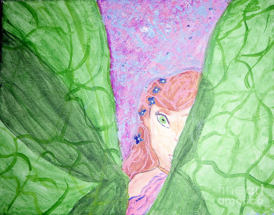 Peeking Fairy  Painting  - Peeking Fairy  Fine Art Print