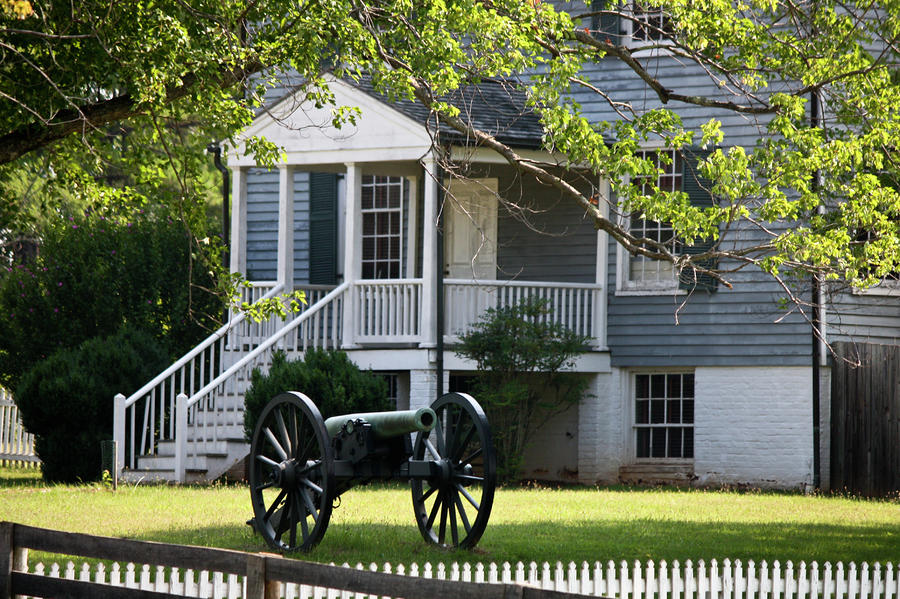 Peers House And Cannon Appomattox Court House Virginia Photograph  - Peers House And Cannon Appomattox Court House Virginia Fine Art Print
