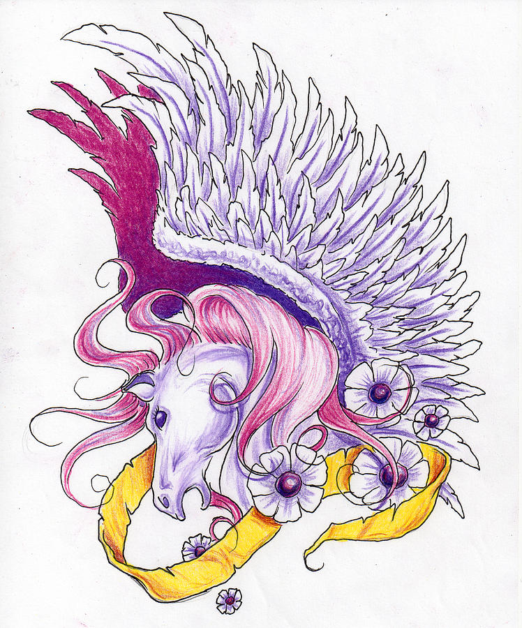 Pegasus And White Flowers Drawing