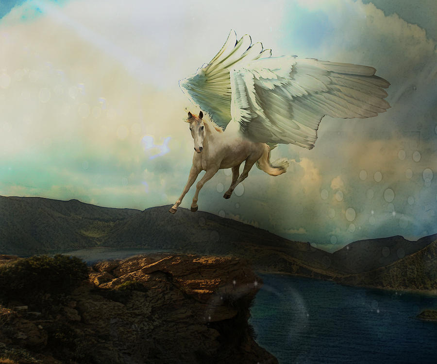 Pegasus Flying Horse Digital Art  - Pegasus Flying Horse Fine Art Print