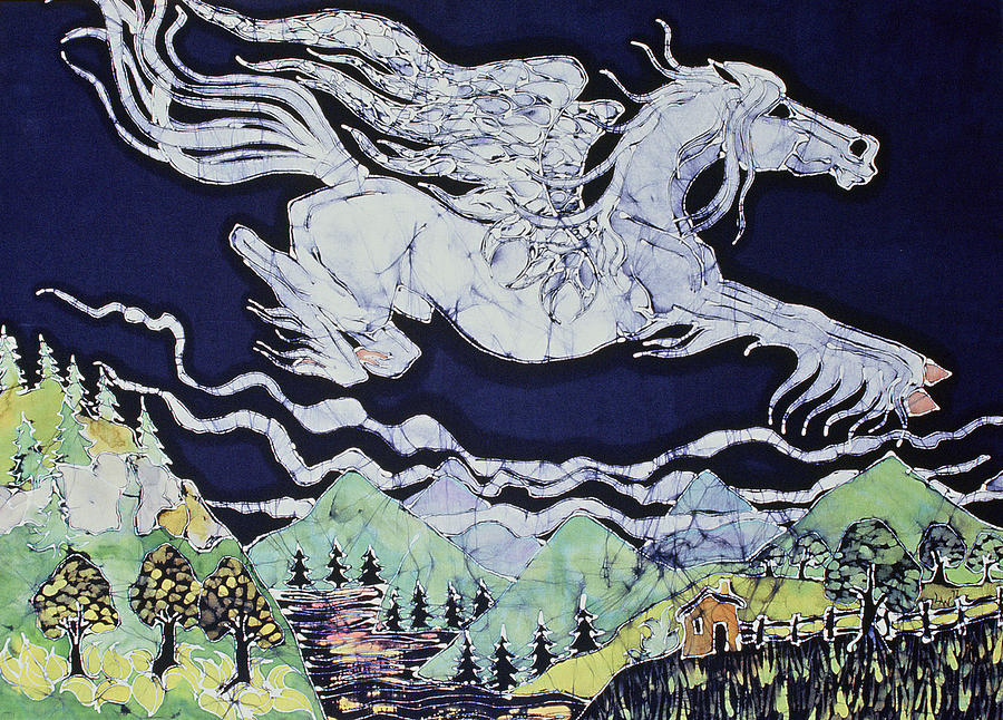 Pegasus Flying Over Stream Tapestry - Textile