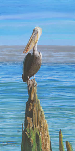 Pelican On A Piling Canvas Giclee Print Pastel