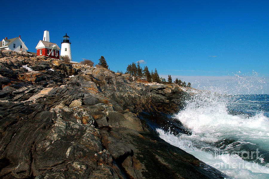 Pemaquid Point Lighthouse - Seascape Landscape Rocky Coast Maine Photograph