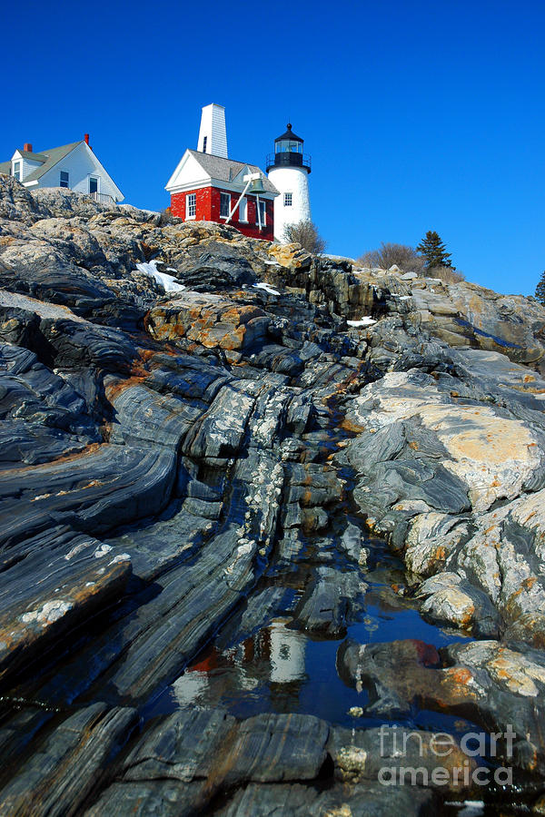 Pemaquid Point Lighthouse Reflection - Seascape Landscape Rocky Coast Maine Photograph