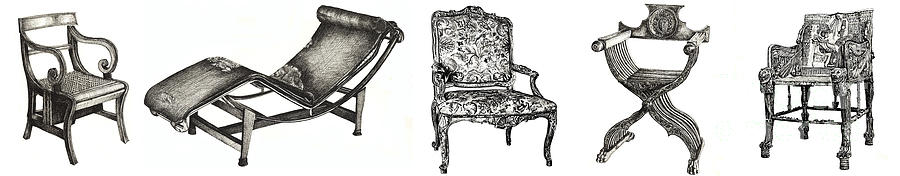 Pen And Ink Poster Of Chairs Drawing  - Pen And Ink Poster Of Chairs Fine Art Print