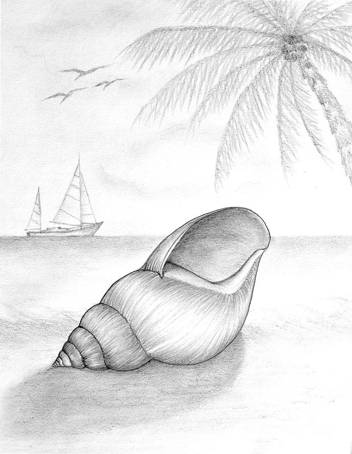Pencil Drawing Of Beach Scene by Evelyn Sichrovsky