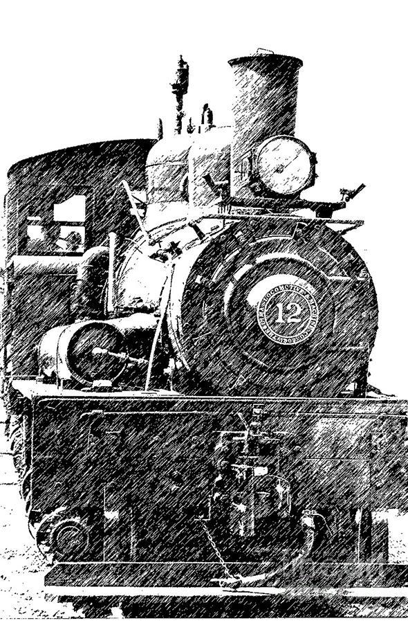 Pencil Sketch Locomotive Photograph by Randy Harris