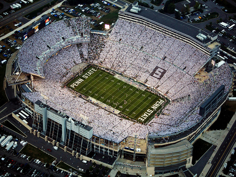 Penn State Aerial View Of Beaver Stadium Photograph  - Penn State Aerial View Of Beaver Stadium Fine Art Print