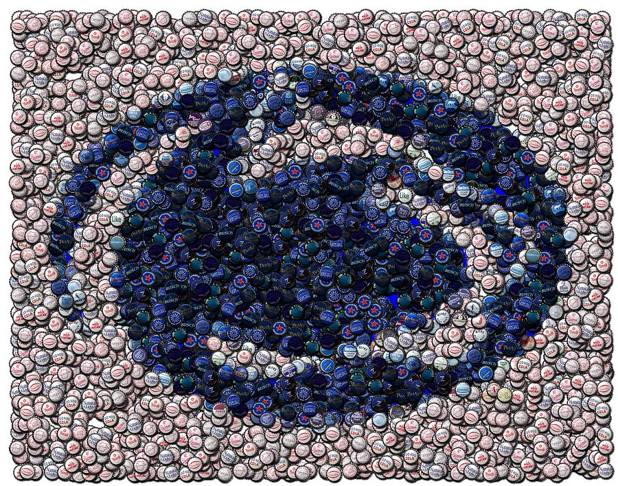 Penn State Bottle Cap Mosaic Digital Art  - Penn State Bottle Cap Mosaic Fine Art Print