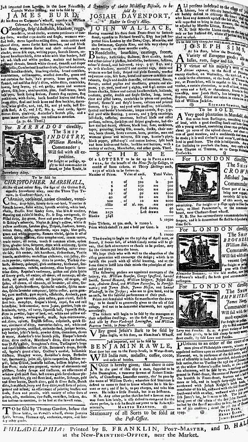 Pennsylvania Gazette, C1749 Photograph