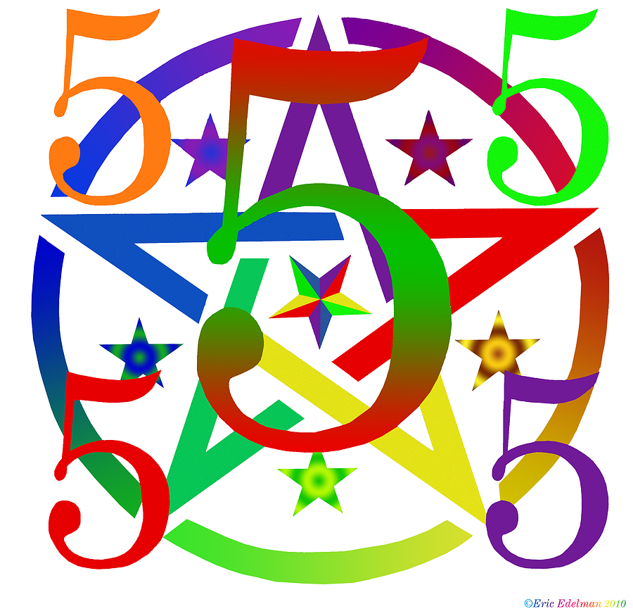 Penta Pentacle White Digital Art  - Penta Pentacle White Fine Art Print