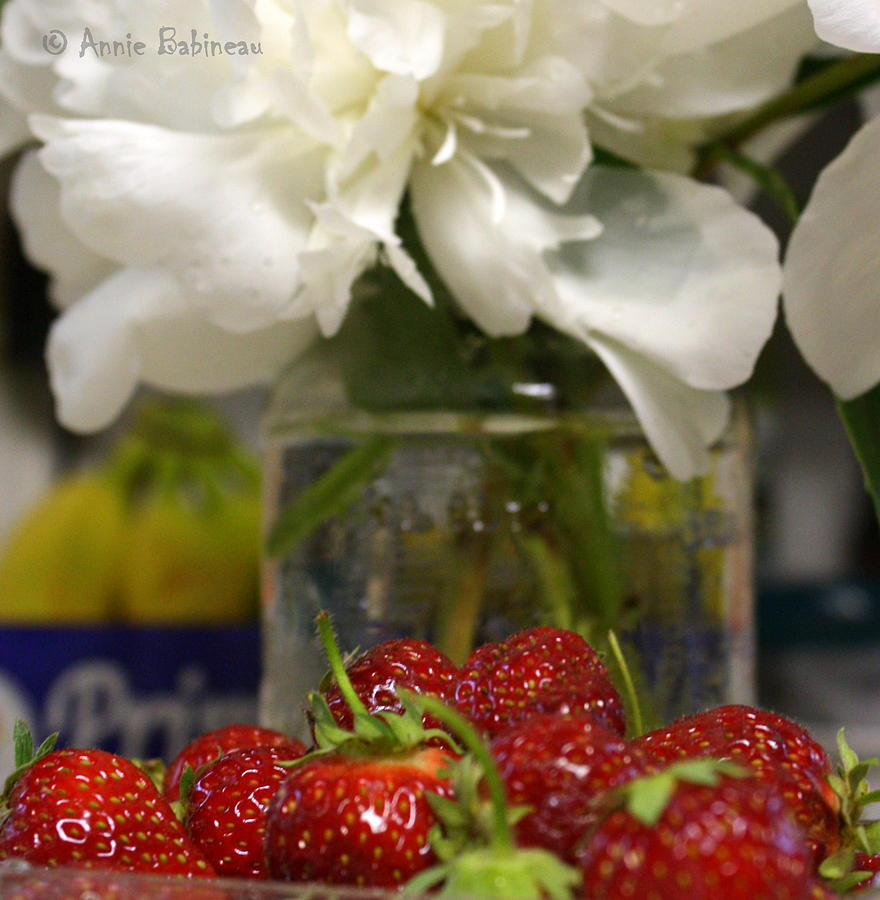 Peonies And Strawberries Photograph  - Peonies And Strawberries Fine Art Print