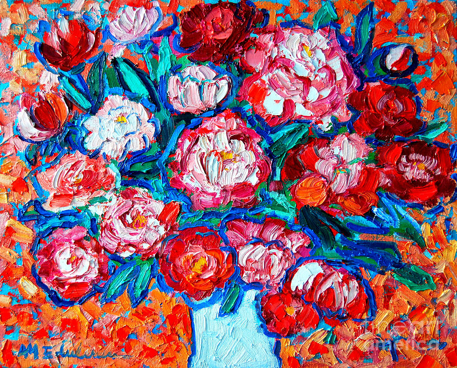 Peonies Bouquet Painting  - Peonies Bouquet Fine Art Print