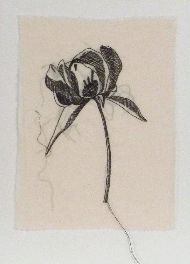 Peony 2 Stitched Sketch Tapestry - Textile