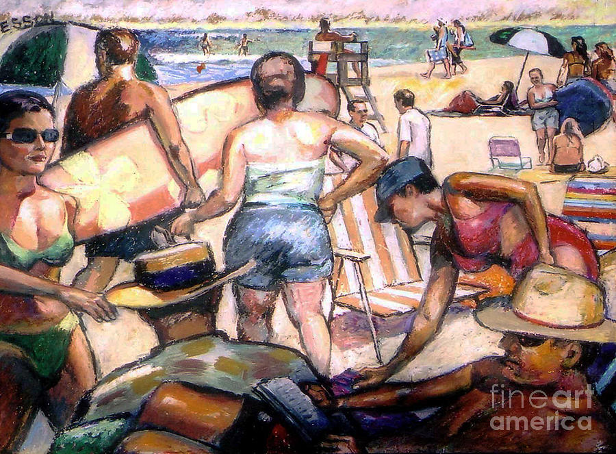People On The Beach Painting  - People On The Beach Fine Art Print