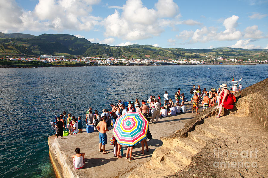 Azores Photograph - People Waiting At The Islet by Gaspar Avila