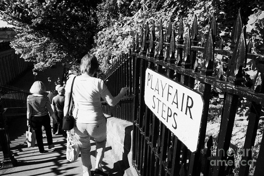 People Walking Down The Playfair Steps Down Into Princes Street Gardens Edinburgh Scotland Uk United Photograph