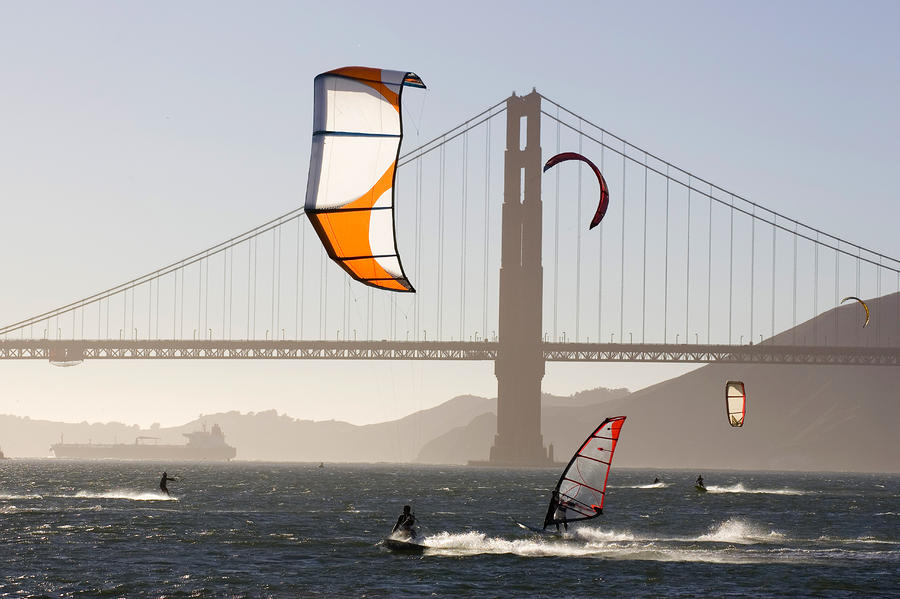 People Wind Surfing And Kitebording Photograph