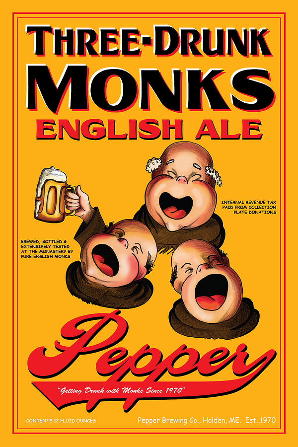 Pepper Three Drunk Monks Drawing  - Pepper Three Drunk Monks Fine Art Print