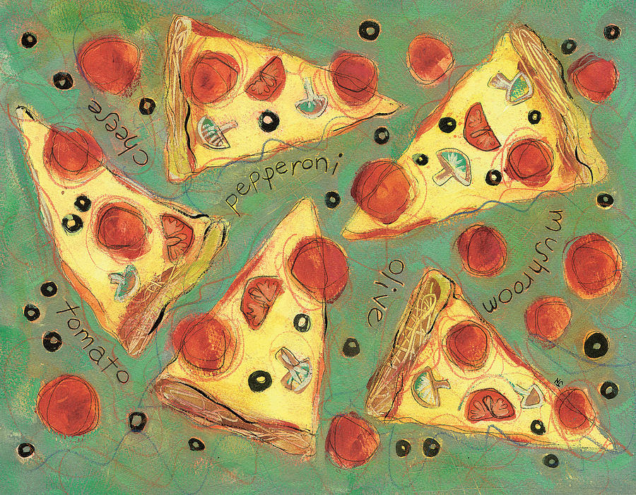 Pepperoni Pizza Painting  - Pepperoni Pizza Fine Art Print