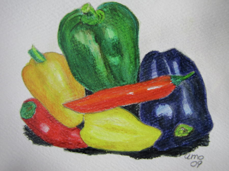 Peppers Drawing  - Peppers Fine Art Print