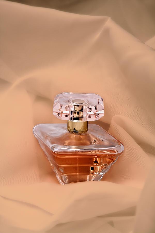 Perfume Bottle Still Life IIi In Peach Photograph
