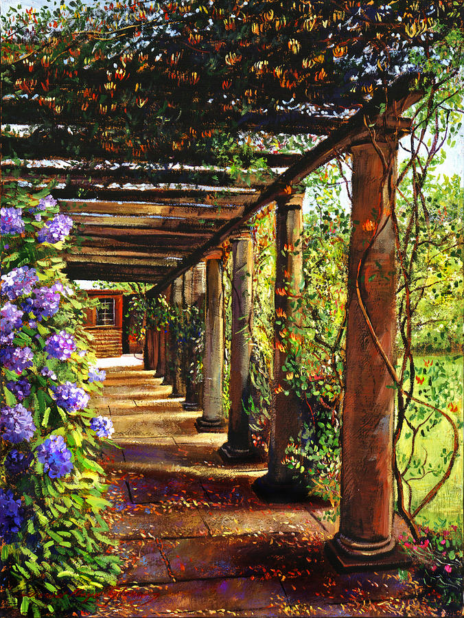 Pergola Walkway Painting  - Pergola Walkway Fine Art Print