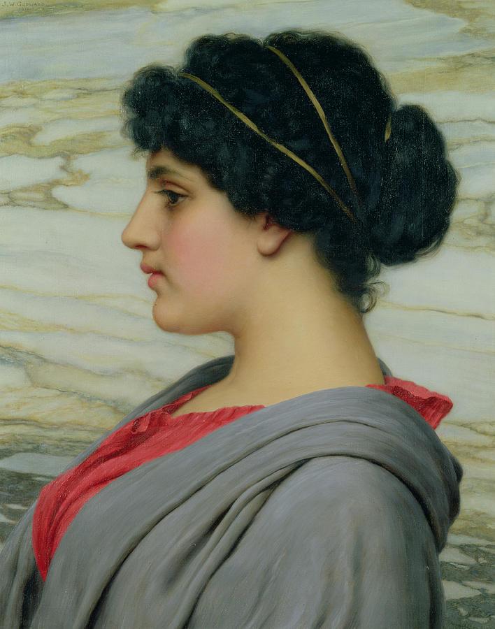 John William Godward (1861-1922) Female; Neo-classical; Seated; Profile; Ethereal; Beauty; Grecian; Beauty Painting - Perilla by John William Godward