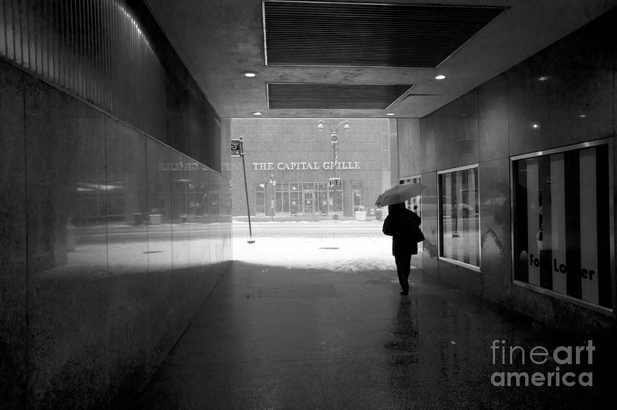 Person Under Umbrella Leaving Subway During New York Blizzard  Photograph  - Person Under Umbrella Leaving Subway During New York Blizzard  Fine Art Print