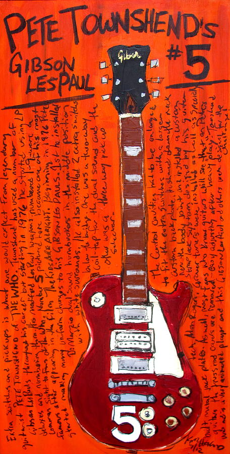 Pete Townshends Les Paul 5 Painting  - Pete Townshends Les Paul 5 Fine Art Print