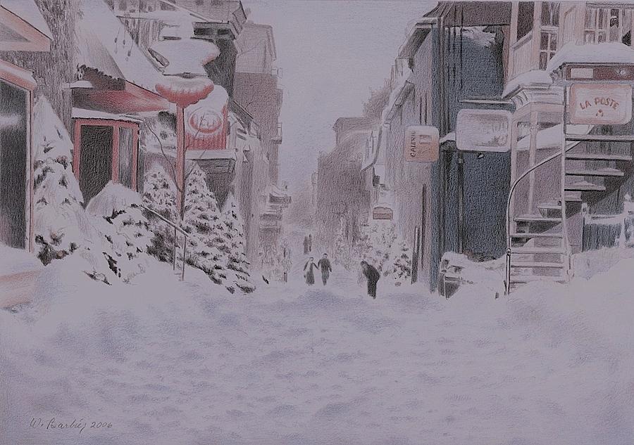 Petit Champlain Quebec City Drawing