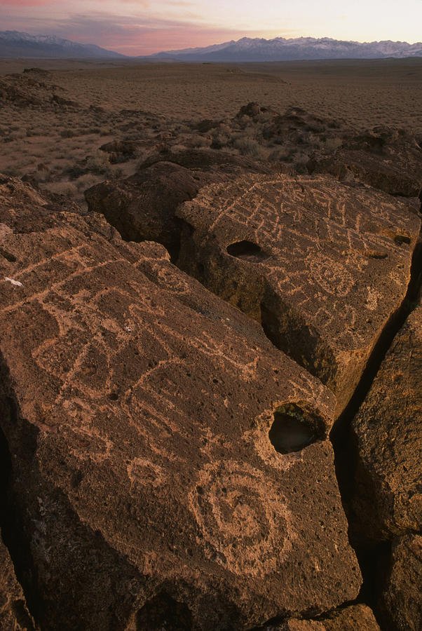 Petroglyphs On Volcanic Rock In Owens Photograph  - Petroglyphs On Volcanic Rock In Owens Fine Art Print
