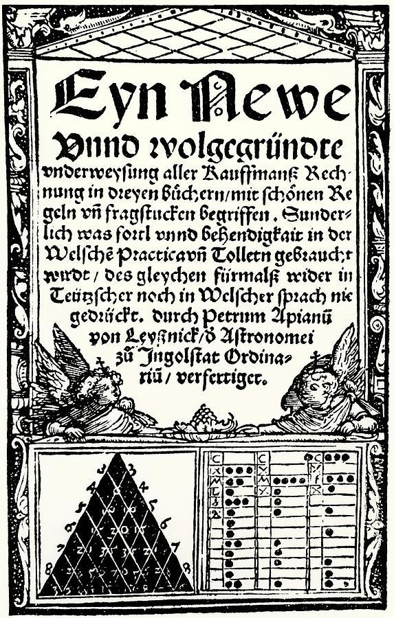 Petrus Apianuss Pascals Triangle, 1527 Photograph