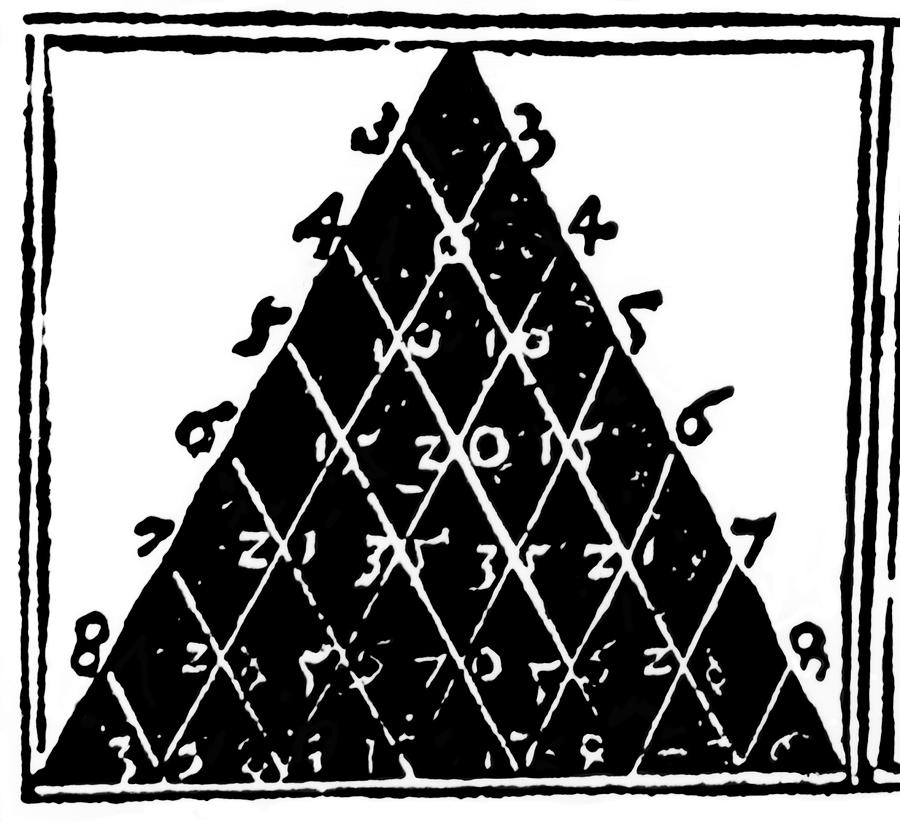 Apianus's Triangle Photograph - Petrus Apianuss Pascals Triangle, 1527 by Dr Jeremy Burgess