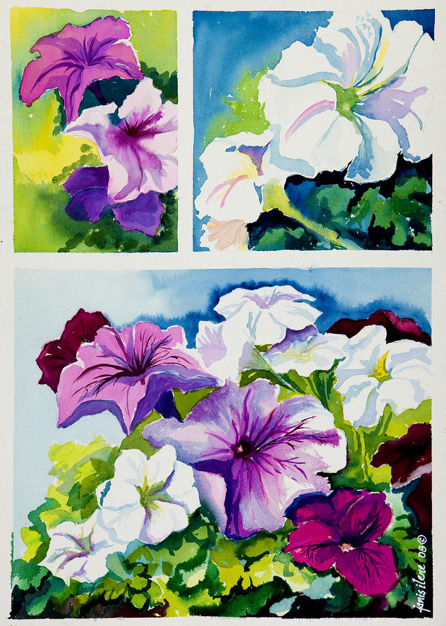 Petunias In Summer Painting  - Petunias In Summer Fine Art Print