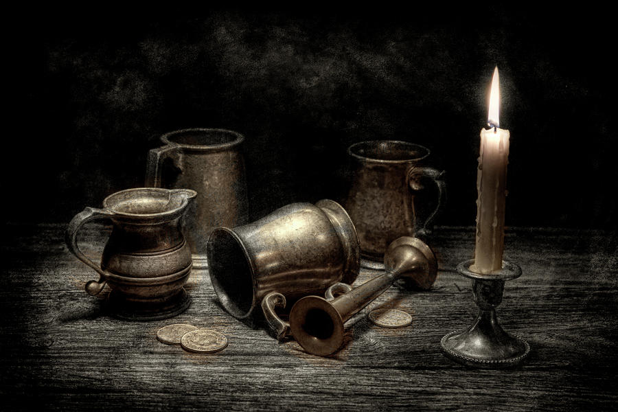 Pewter Still Life I Photograph  - Pewter Still Life I Fine Art Print