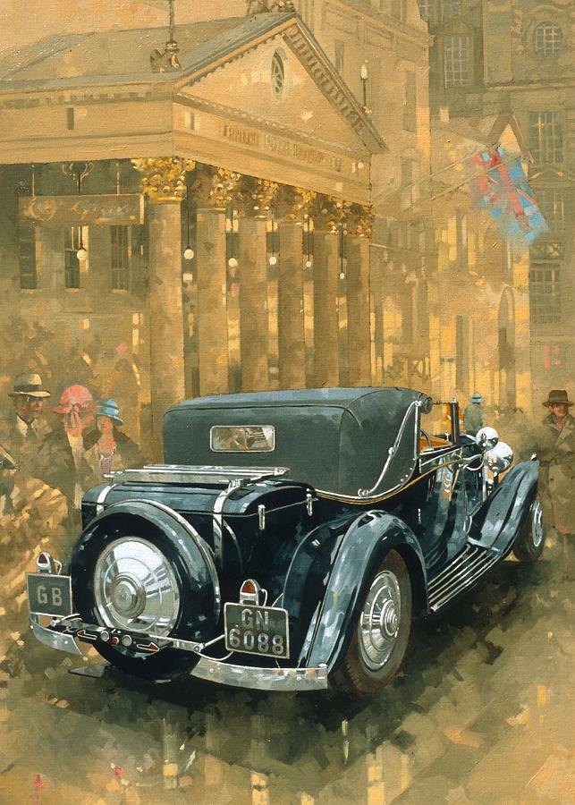 Piccadilly; Rolls Royce; London; Theatre; West End; Car; Vehicle; Rolls Royce; Vintage; Automobile; Classic Cars; Vintage Car; England  Painting - Phantom In The Haymarket  by Peter Miller