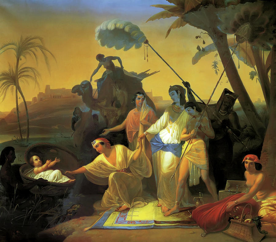 Pharaohs Daughter Finding Baby Moses Painting