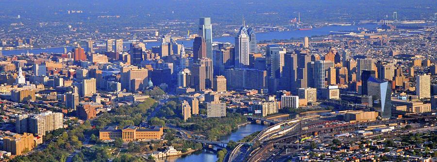 Philadelphia Museum Of Art And City Skyline Aerial Panorama Photograph