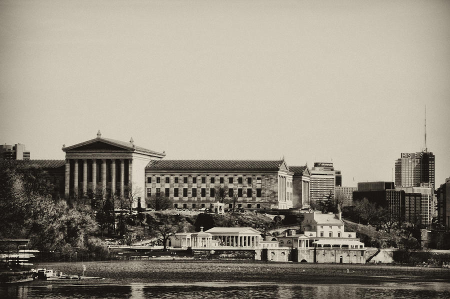 Philadelphia Museum Of Art And The Fairmount Waterworks From West River Drive In Black And White Photograph