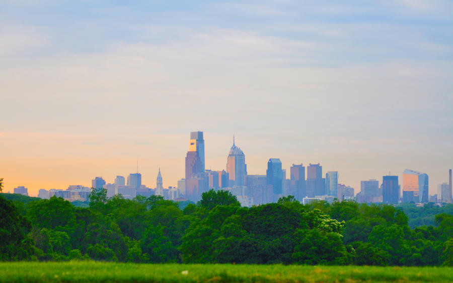 Philadelphia Skyline From West Lawn Of Fairmount Park Photograph  - Philadelphia Skyline From West Lawn Of Fairmount Park Fine Art Print
