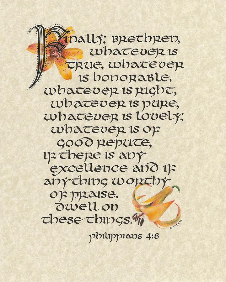 Philippians Calligraphy Mixed Media
