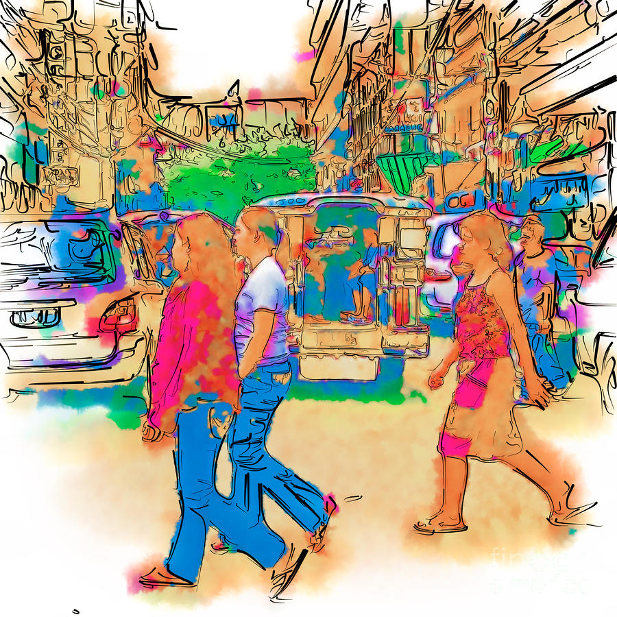 Philippine Girls Crossing Street Drawing