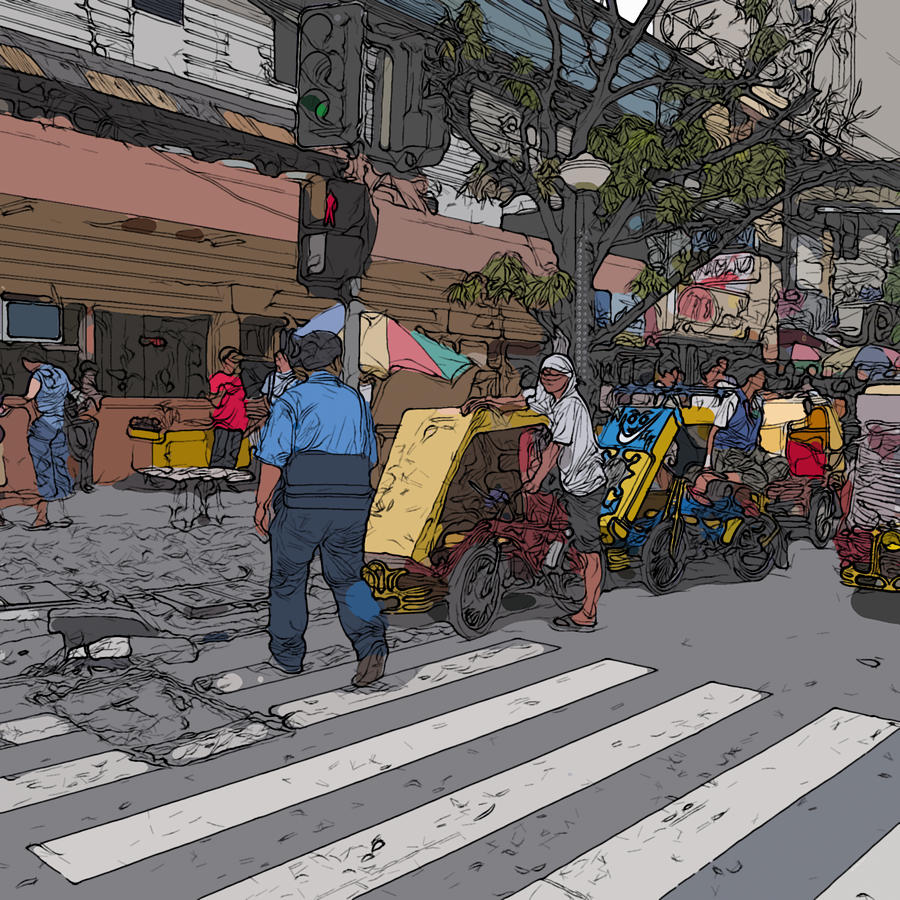 Philippines 906 Crosswalk Painting  - Philippines 906 Crosswalk Fine Art Print