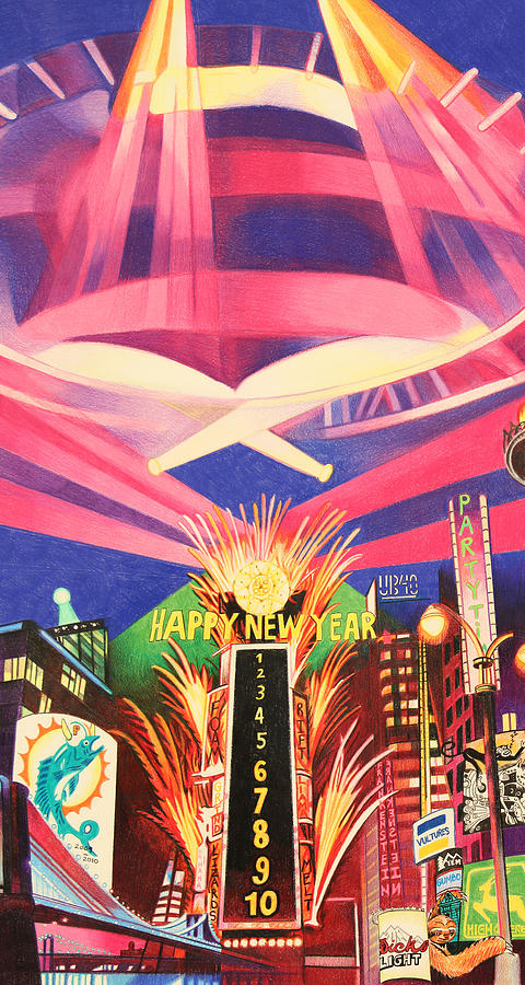 Phish New Years In New York Middle Drawing  - Phish New Years In New York Middle Fine Art Print
