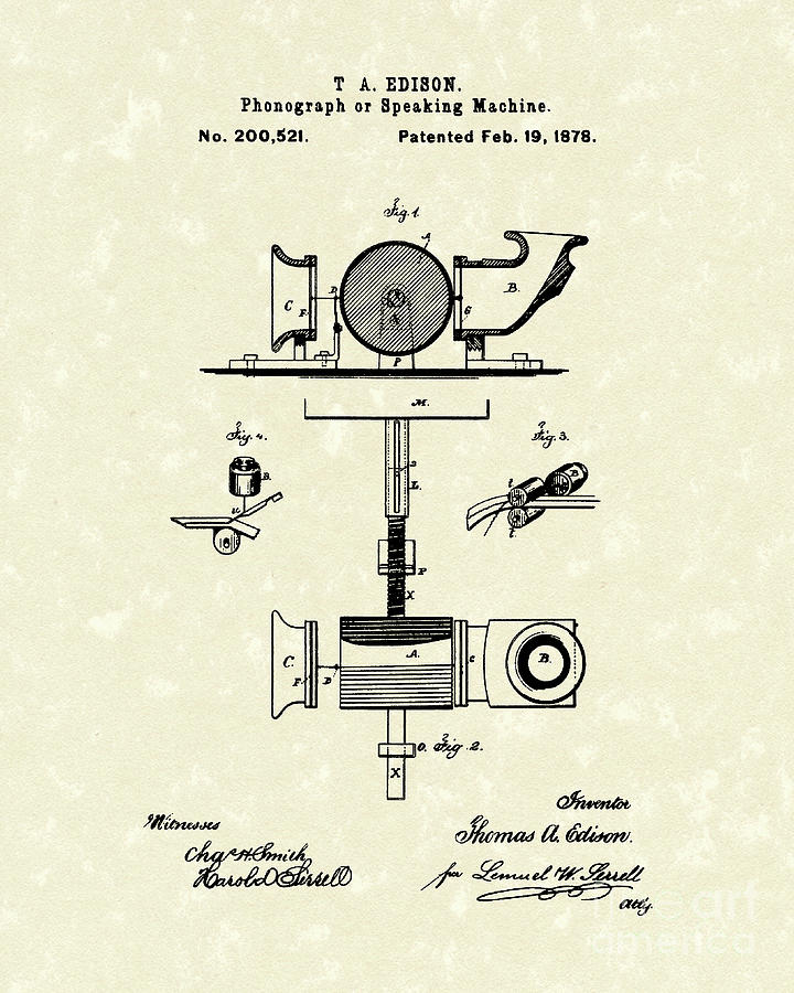 Phonograph 1878 Patent Art  Drawing  - Phonograph 1878 Patent Art  Fine Art Print