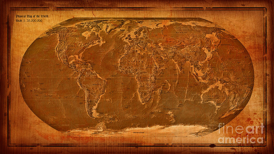 Physical Map Of The World Antique Style Digital Art