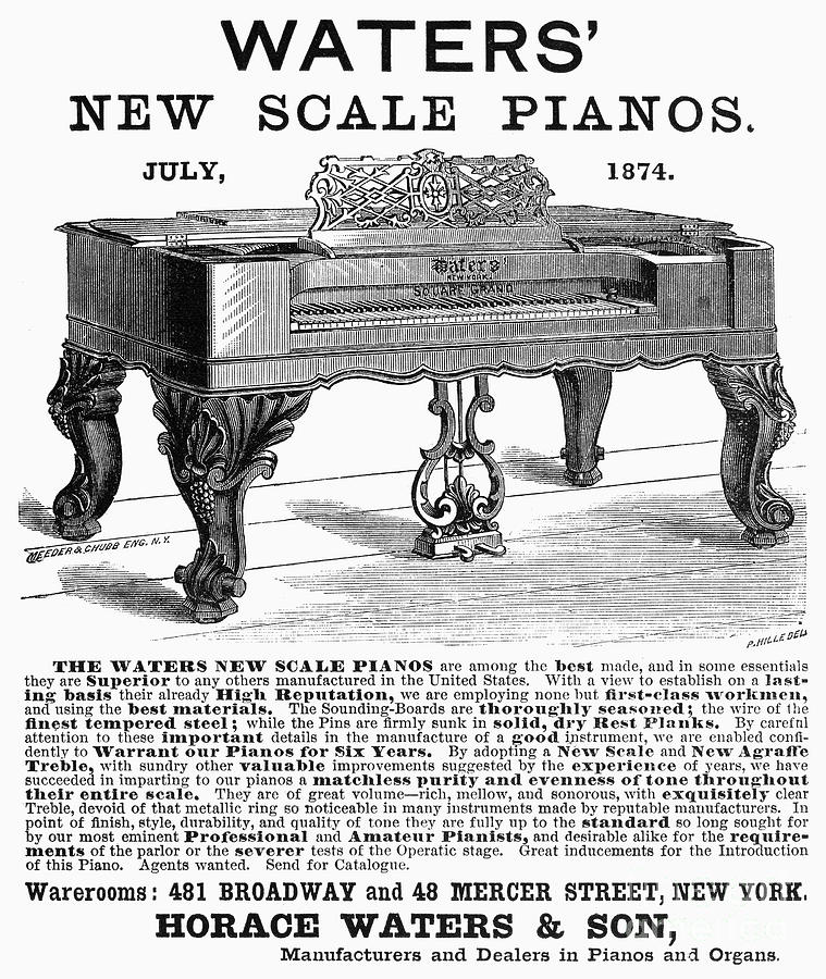 1874 Photograph - Piano Advertisement, 1874 by Granger