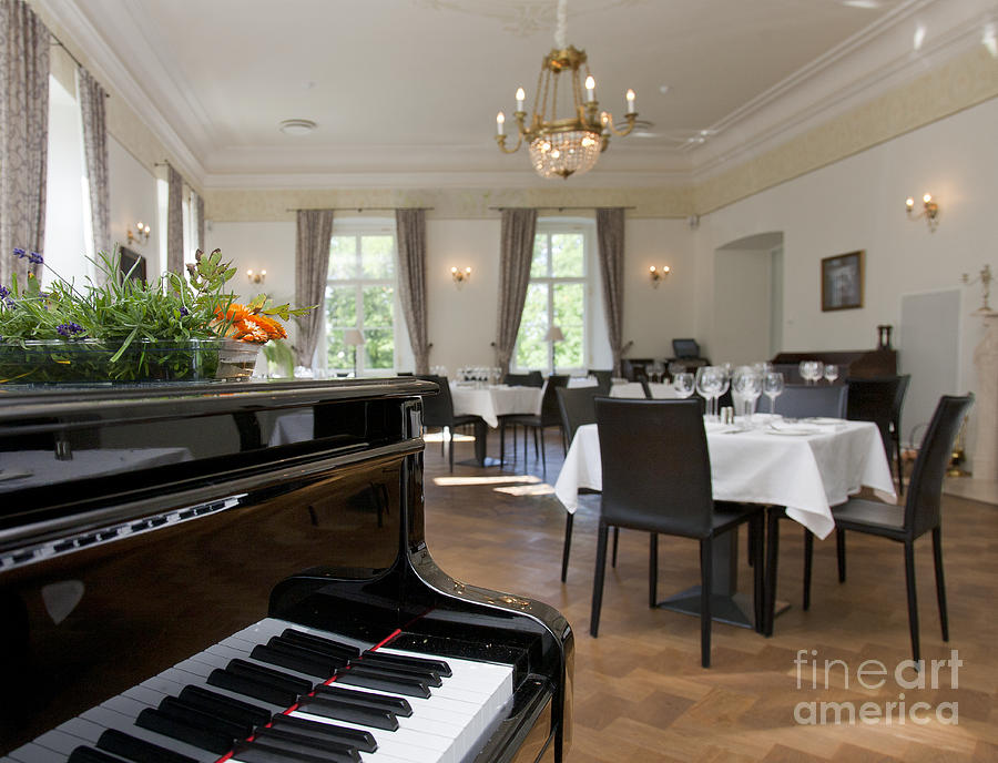 Piano In A Upscale Dining Room Photograph