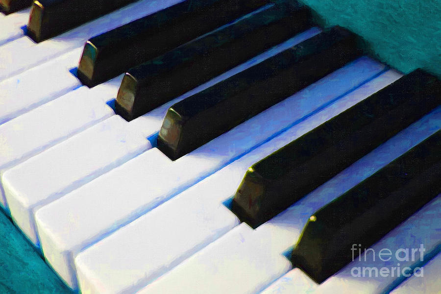 Piano Keys . V2 . Blue Photograph